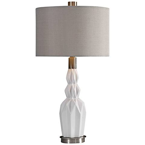 Uttermost Cabret Gloss White Ceramic Table Lamp