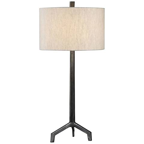Ivor Raw Steel and Burnished Distressing Table Lamp