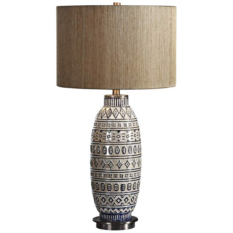 Uttermost Lokni Textured and Aged Ivory Ceramic Table Lamp