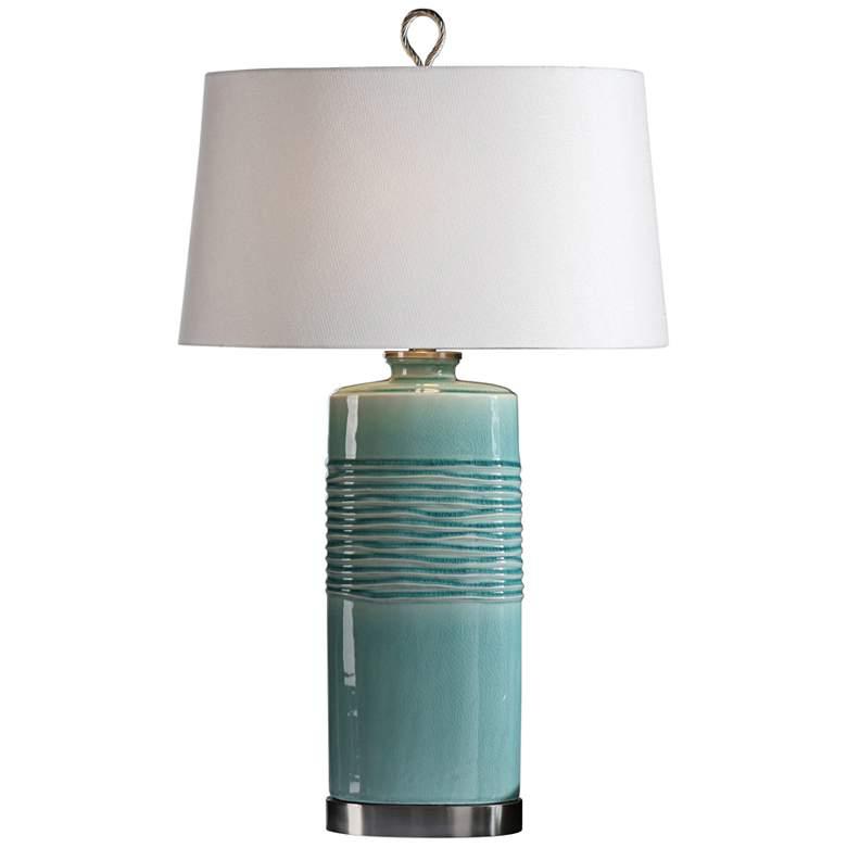 Uttermost Rila Distressed Teal Ceramic Table Lamp