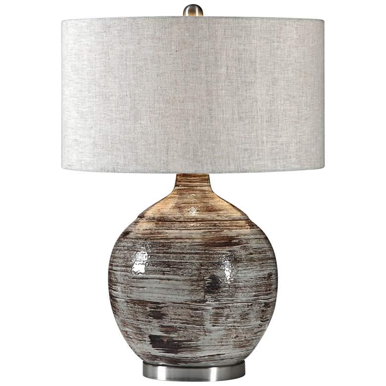 Uttermost Tamula Distressed Blue-Gray Ceramic Table Lamp