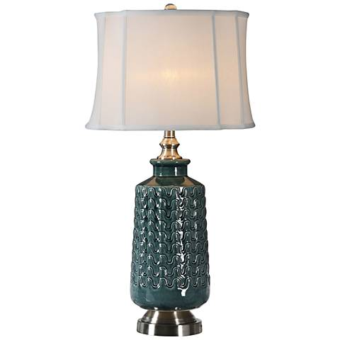 Uttermost Vallon Dark Blue-Green Ceramic Table Lamp