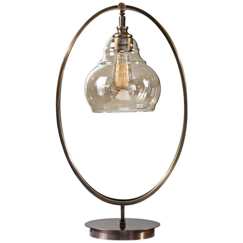 Uttermost Elliptical Dark Antique Brass Accent Table Lamp