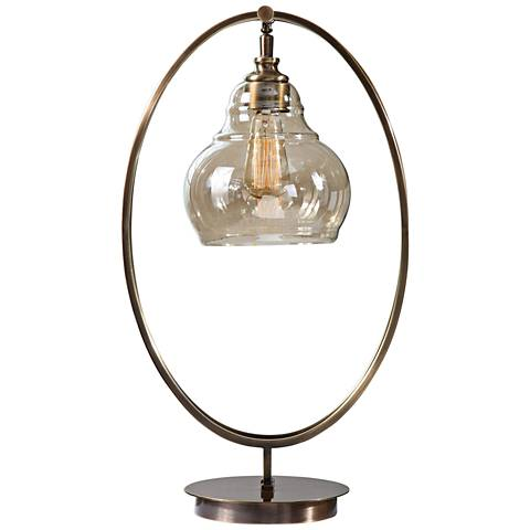 Uttermost Elliptical Dark Antique Brass Accent Table Lamp