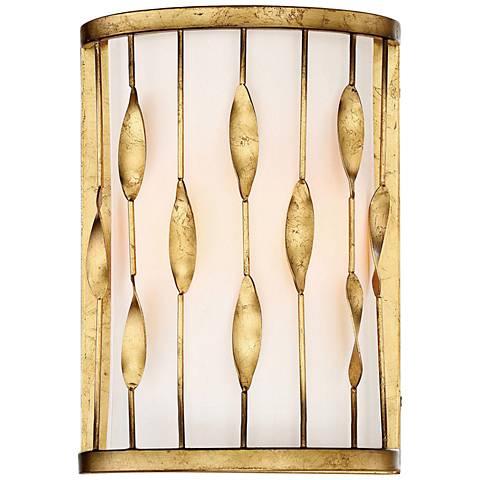 "Oliventas 12 1/2""H II Terrace Gold Leaf Wall Sconce"