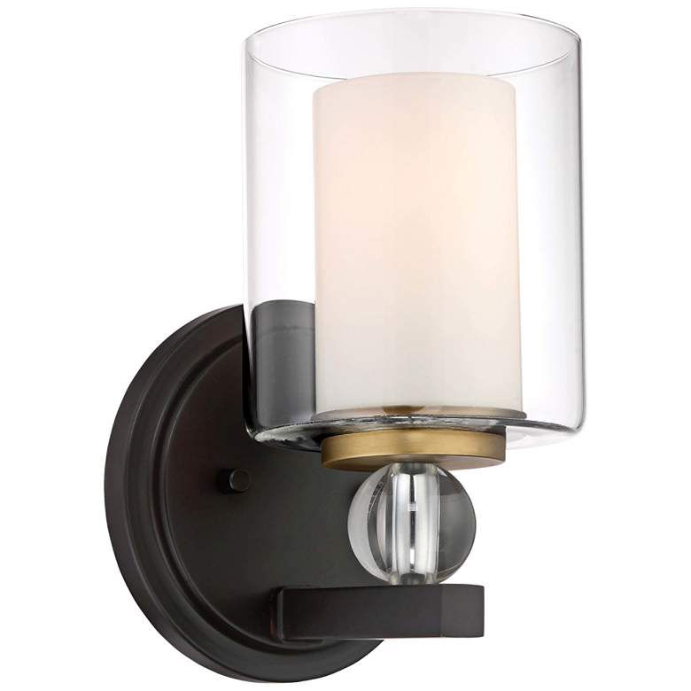"""Studio 5 9 1/2"""" High Bronze and Natural Brush Wall Sconce"""