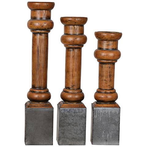 Heirloom Antique Pine 3-Piece Pillar Candle Holder Set