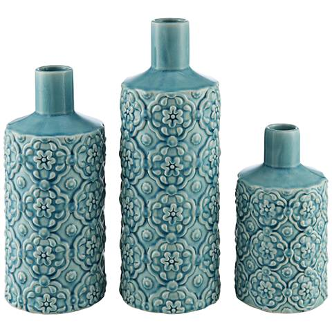 Totor Rose Washed Blue 3-Piece Ceramic Vase Set
