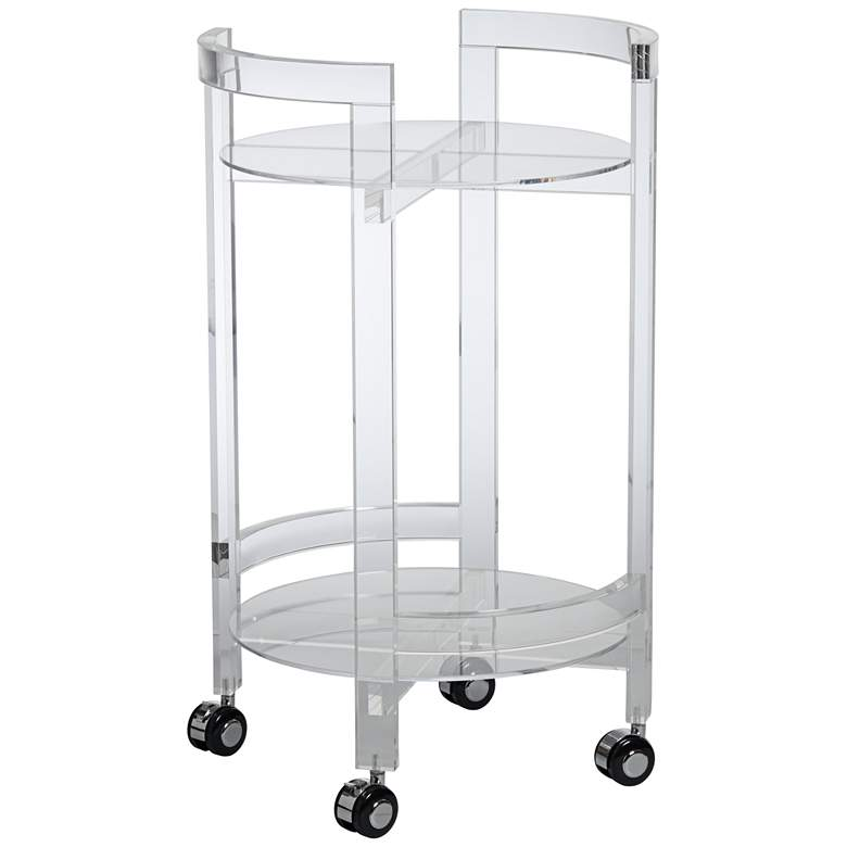 """Barry 18"""" Wide Clear Acrylic Serving Bar Cart with Wheels"""