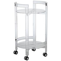 Acrylic Round Rolling 2-Shelf Serving Cart