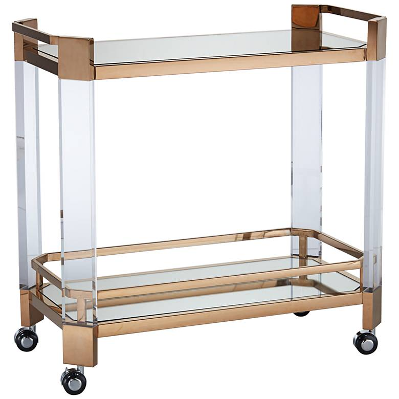 """Simon 33"""" Wide 2-Shelf Gold and Clear Acrylic Serving Cart"""