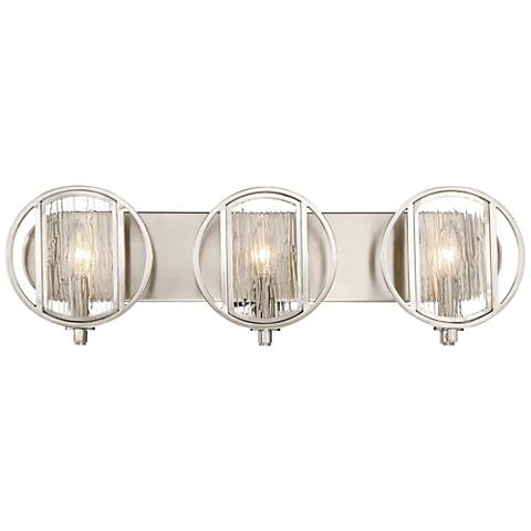 "Via Capri 25"" Wide Brushed Nickel 3-Light Bath Light"