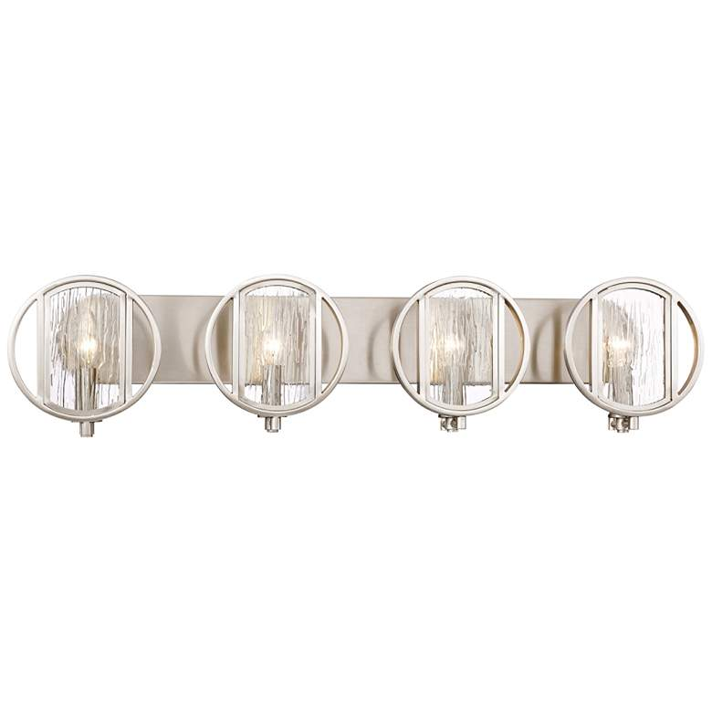 "Via Capri 34"" Wide Brushed Nickel 4-Light Bath Light"