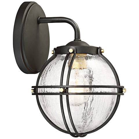 "Rond 10 1/4"" High Black and Honey Gold Outdoor Wall Light"