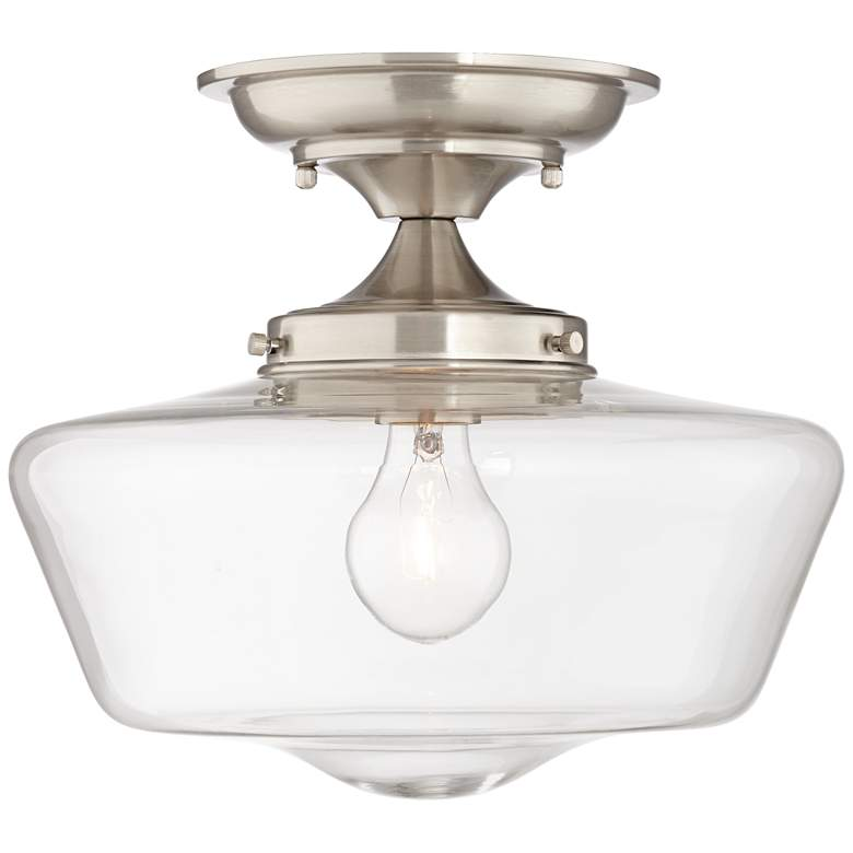 "Schoolhouse Floating 12""W Brushed Nickel Clear Ceiling Light"