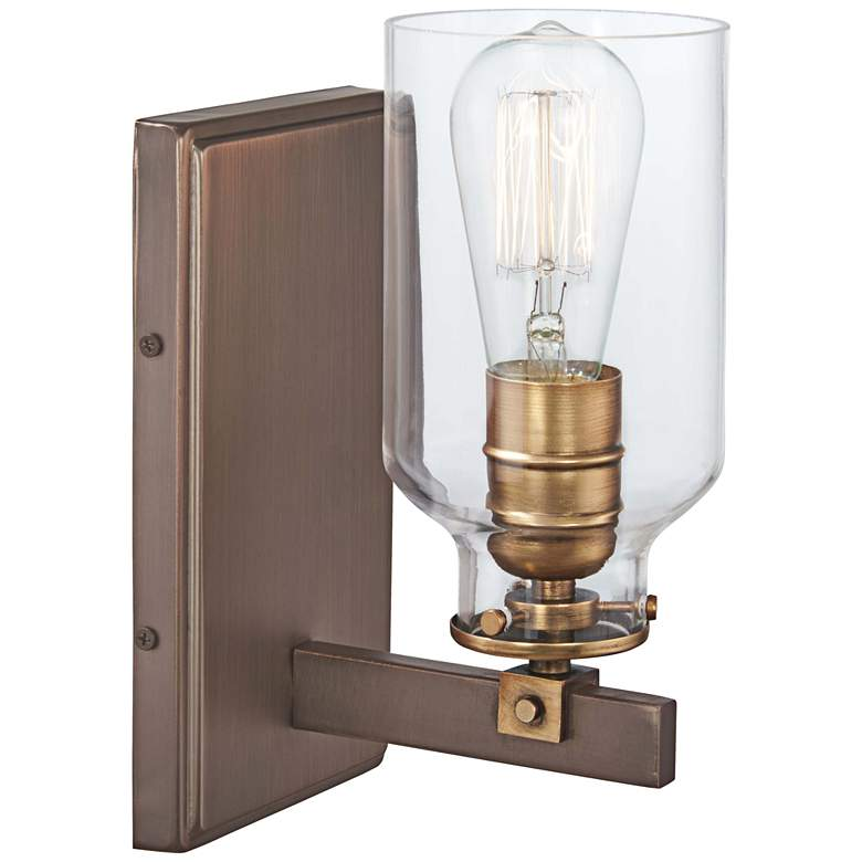 """Morrow 10"""" High Harvard Court Bronze and Gold Wall Sconce"""