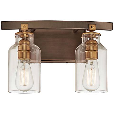 "Morrow 9 1/4"" High Bronze and Gold 2-Light Wall Sconce"