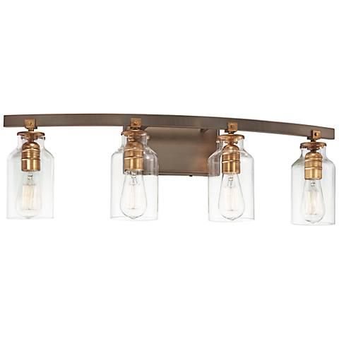 "Morrow 30 1/4"" Wide Bronze and Gold 4-Light Bath Light"