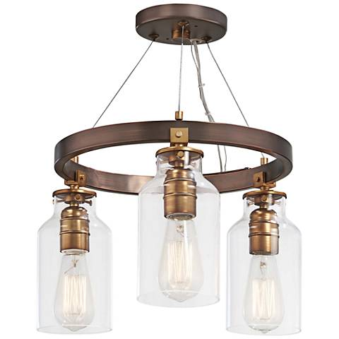 """Morrow 16"""" Wide Bronze and Gold 3-Light Ceiling Light"""