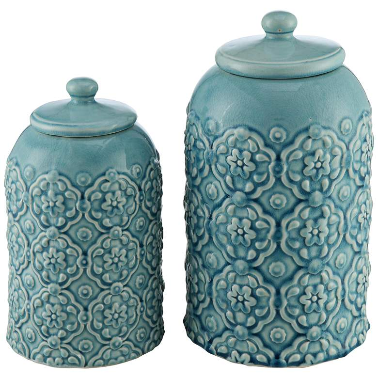 Totor Rose Washed Blue 2-Piece Ceramic Canister Set