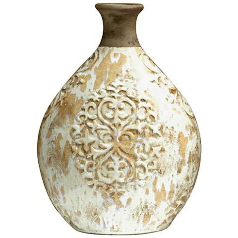 "Jardine 16"" High Small Clay and White Glaze Ceramic Vase"