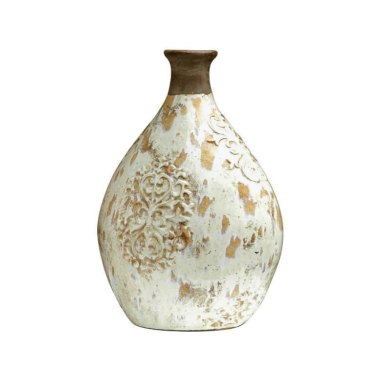 "Jardine 16"" High Clay and White Ceramic Vase"