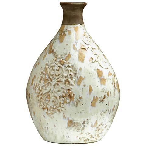 """Jardine 16"""" High Large Clay and White Glaze Ceramic Vase"""