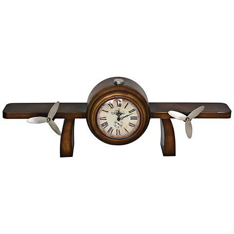 "Time Flies Bronze 30 1/4"" Wide Metal Table Top Clock"