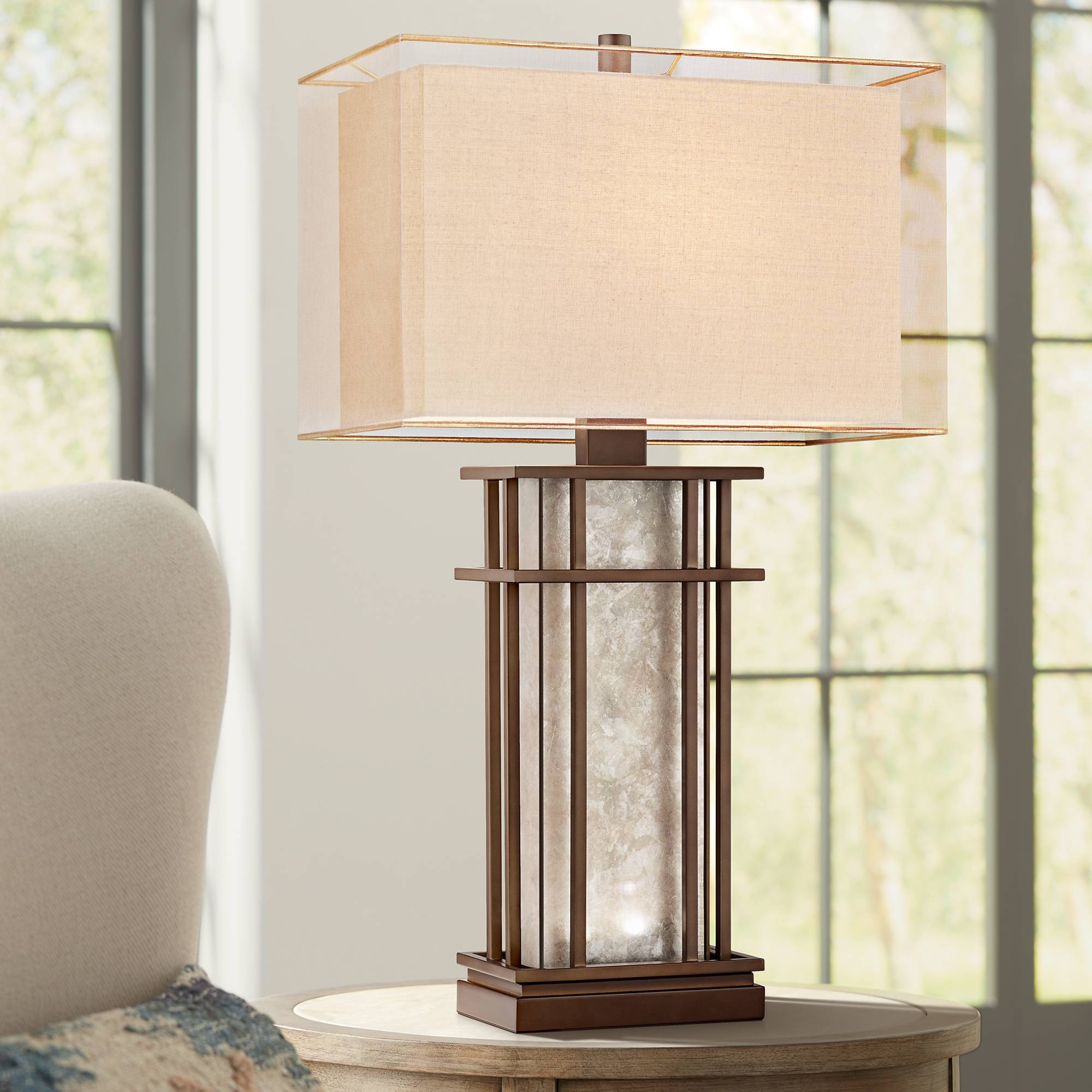 Farmhouse Table Lamp with Nightlight LED Rustic Bronze Mica for ...