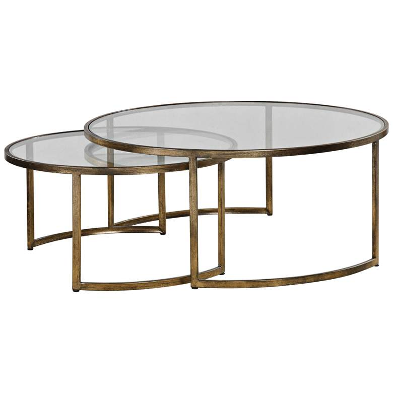 """Rhea 42"""" Wide Gold Leaf and Glass Nesting Tables 2-Piece Set"""