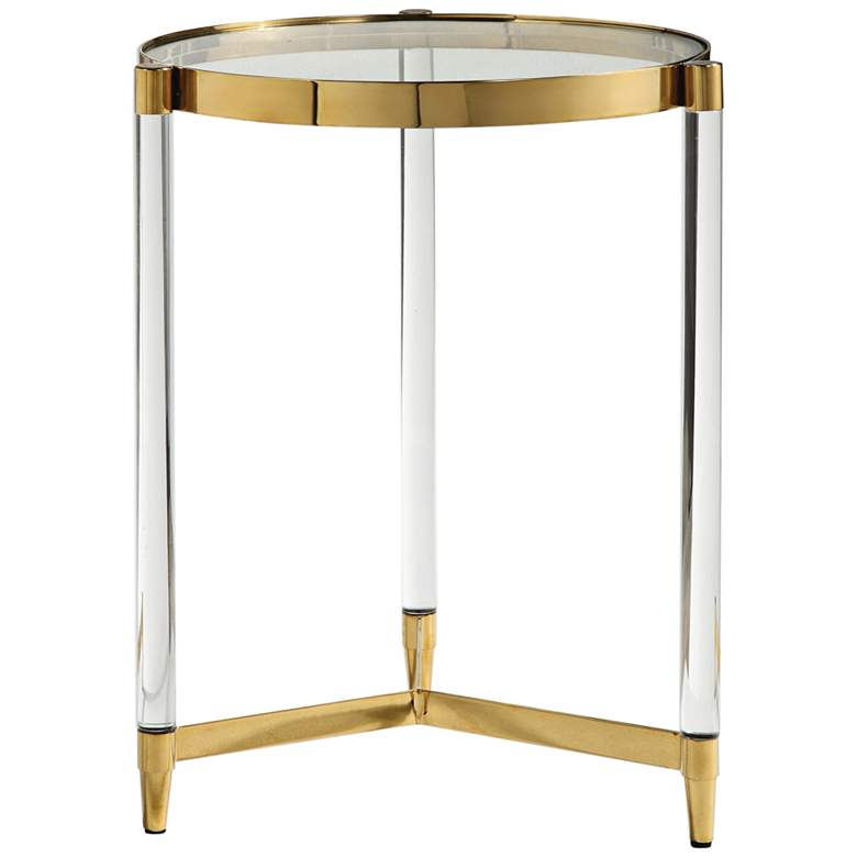 "Kellen 16"" Wide Glass and Gold Modern Round Accent Table"