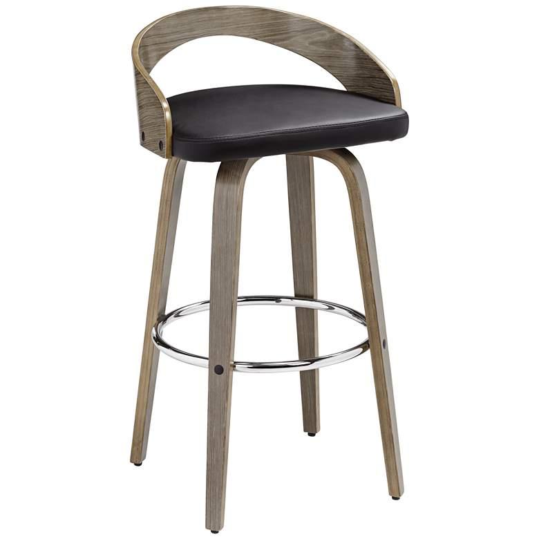 "Gratto 29 1/4"" Black Faux Leather Gray Wood Swivel Bar Stool"
