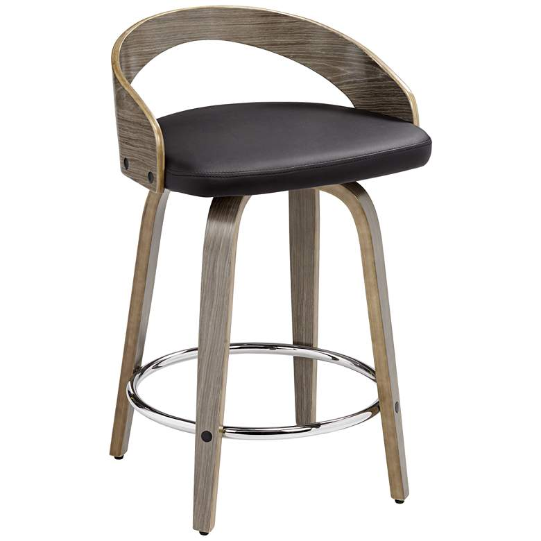 """Gratto 24"""" Black Faux Leather Gray Wood Swivel Counter Stool"""
