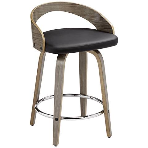 "Gratto 24"" Black Faux Leather Gray Wood Swivel Counter Stool"