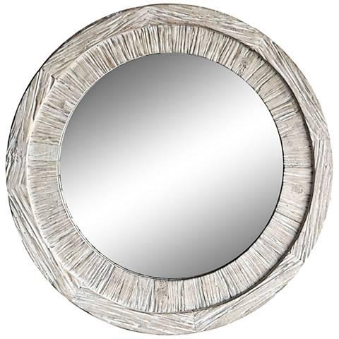 """Haffey White Wash 32"""" Round Wall Mirror"""