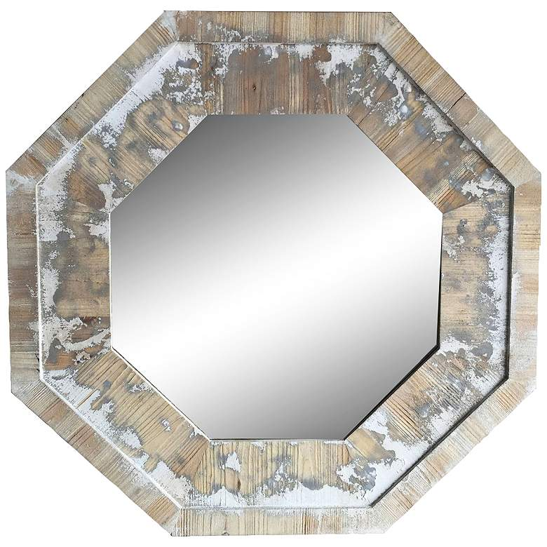 "Hatfield Rustic White 35 3/4"" Octagon Wall Mirror"