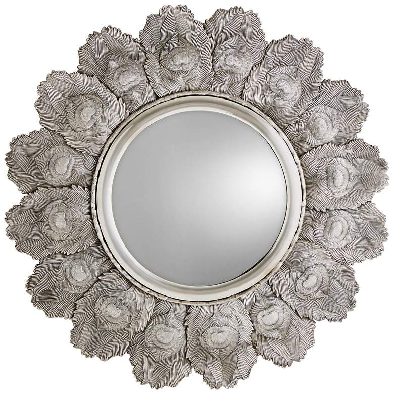 """Peacock Feather Antique Silver 35 1/2"""" Round Wall Mirror"""