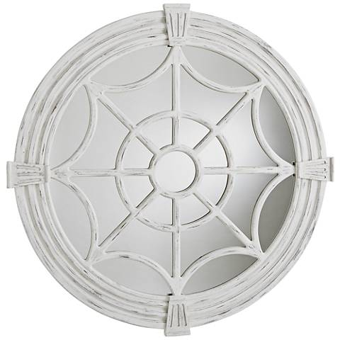 "Window Pane White Wash Lacquer 49 1/2"" Round Wall Mirror"