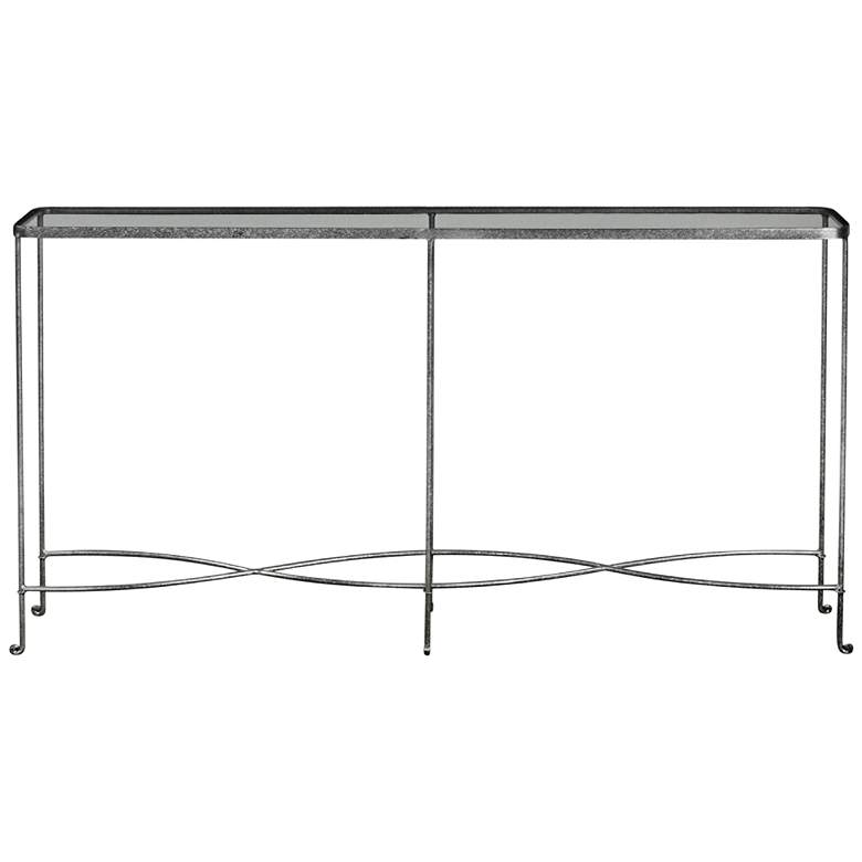 "Aubrey 55"" Wide Glass Top Silver Iron Modern"
