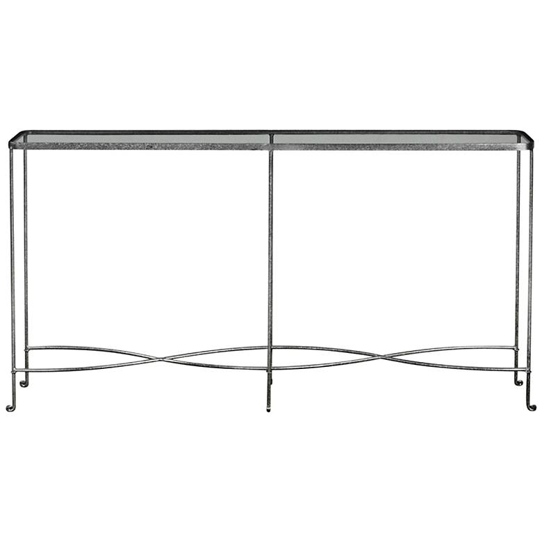 """Aubrey 55"""" Wide Glass Top Silver Iron Modern Console Table"""