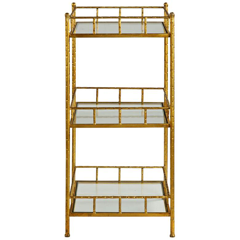 "Tilly 35 3/4"" High 3-Tier Gold Leaf and Glass Accent Shelf"
