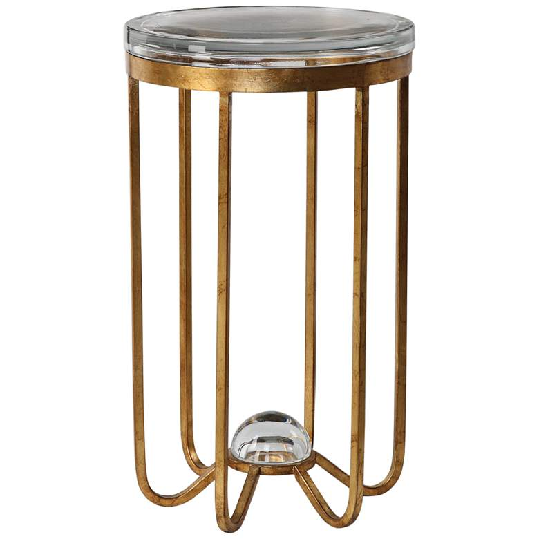 """Allura 14"""" Wide Antiqued Gold Leaf Metal Accent Table"""