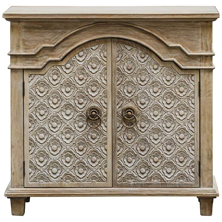 """Allaire 35 1/4"""" Wide Aged Ivory 2-Door Wood Accent Cabinet"""