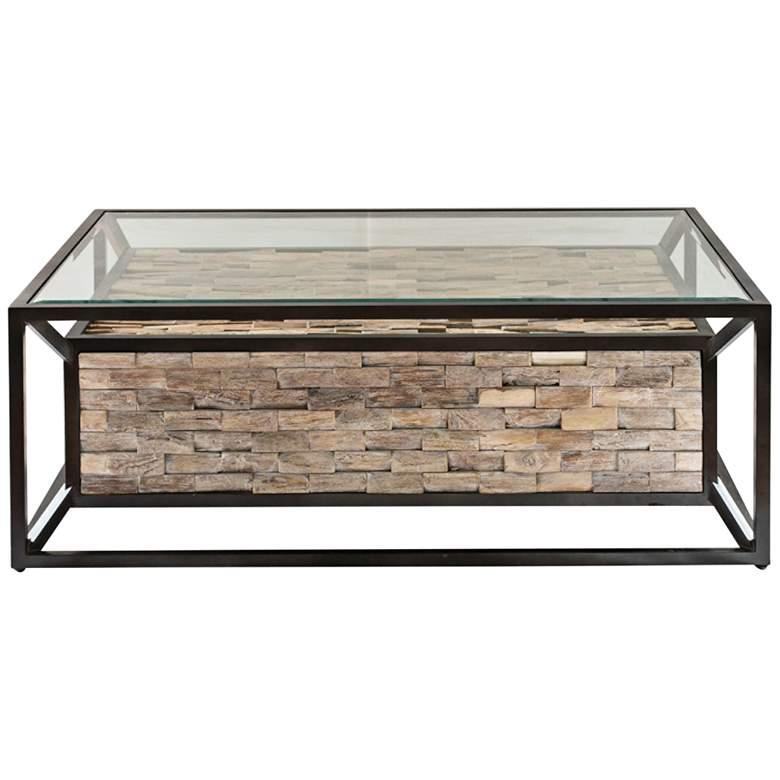 "Uttermost Kono 48"" Wide Dark Bronze Clear Glass Coffee Table"