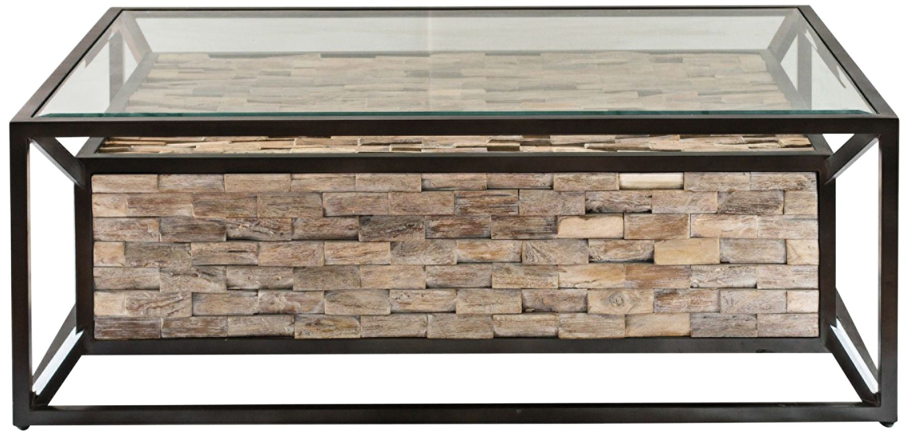 Uttermost Kono Dark Bronze And Clear Glass Coffee Table