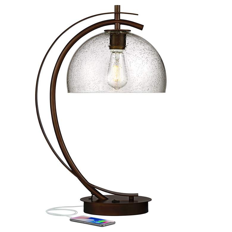 Calvin Glass Dome LED Table Lamp with USB Port