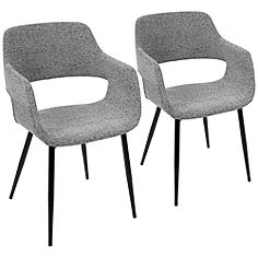 Margarite Gray Fabric Modern Dining Chairs Set of 2