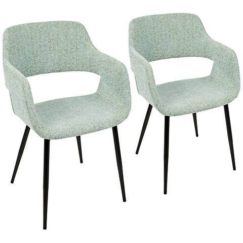 Margarite Light Green Fabric Dining Chair Set of 2