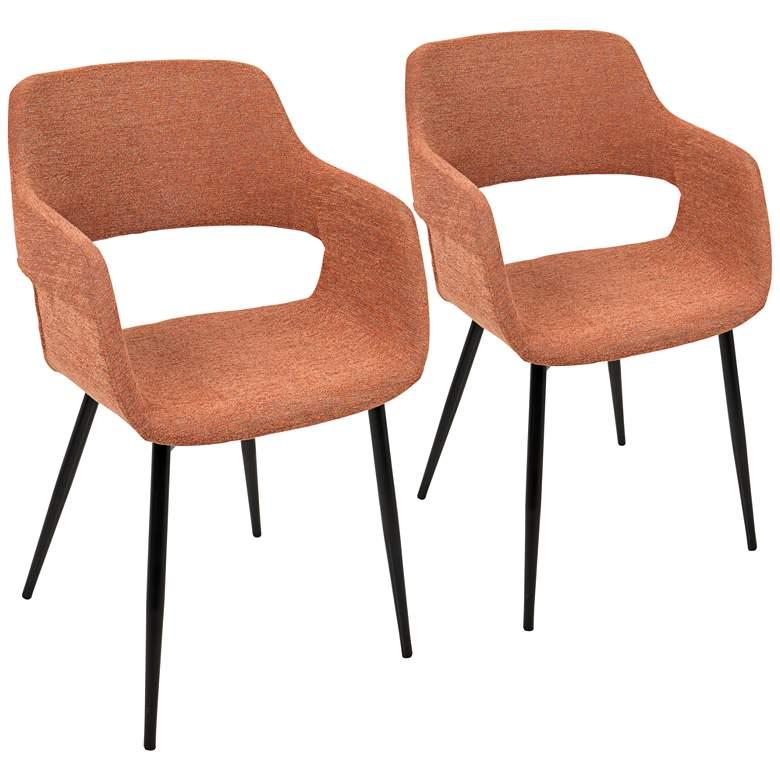 Margarite Orange Fabric Dining Chair Set of 2