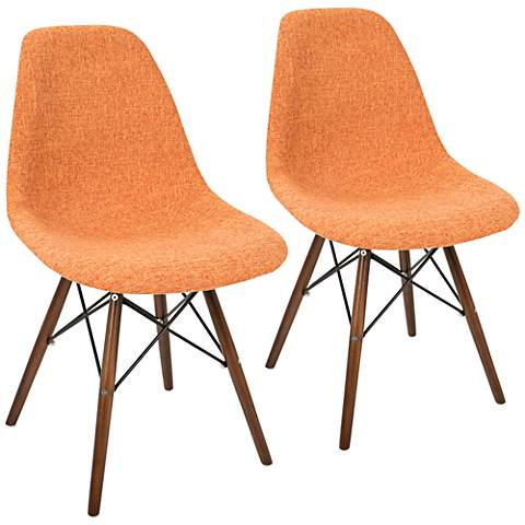 Brady Duo Orange and Gray Fabric Dining Chair Set of 2